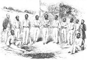 L'équipe Aborigène lors du Boxing Day 1866 au Melbourne Cricket Club