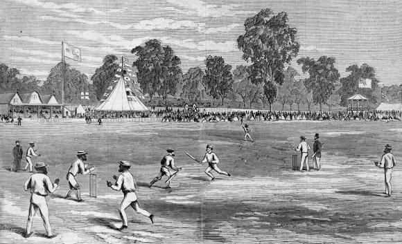 Un match de l'équipe Aborigène au Melbourne CC en 1867