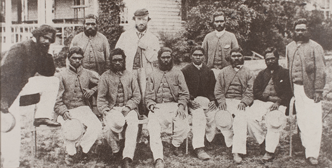 Photo de l'équipe ayant joué le premier match lors du Boxing Day 1866, coachée par Tom Wills