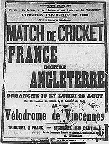 Affiche annonçant le seul match olympique de cricket de l'histoire des JO